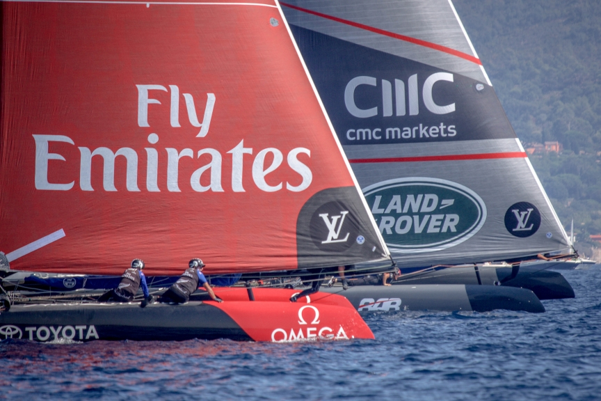 Emirates Team New Zealand racing on race day 2 of the Louis Vuitton America's Cup World Series Toulon