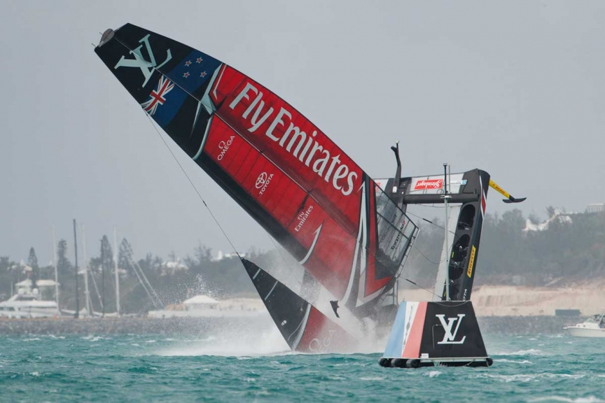 Emirates Team New Zealand sailing on Bermuda's Great Sound in the Louis Vuitton America's Cup Challenger Playoffs Semi-Finals Emirates Team New Zealand (NZL) vs. Land Rover BAR (GBR) Race 4   Copyright: Richard Hodder / Emirates Team New Zealand